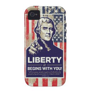 La libertad de Jefferson comienza con usted Vibe iPhone 4 Fundas