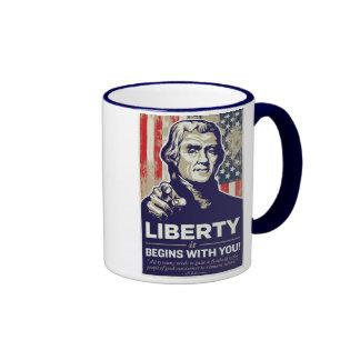 ¡La libertad de Jefferson comienza con usted! Taza