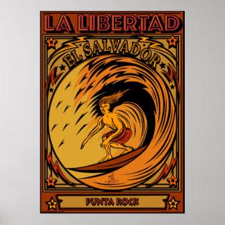 LA LIBERTAD DEL SALVADOR QUE PRACTICA SURF PÓSTER