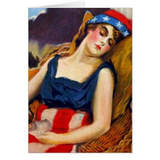 La libertad duerme kitsch retro del vintage de Amé Felicitaciones