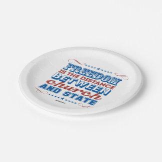 La libertad es la distancia entre la iglesia y el plato de papel de 7 pulgadas