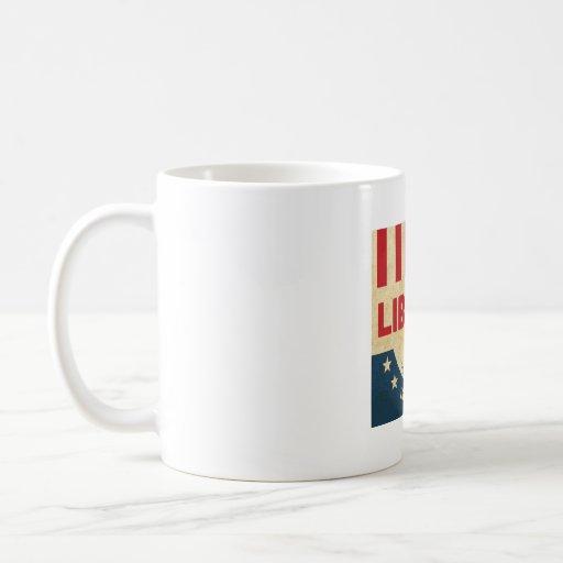 La libertad es taza de café de levantamiento