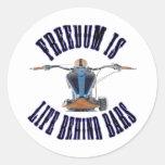 La libertad es vida detrás de barras etiqueta redonda