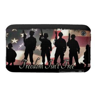 La libertad no es silueta militar libre del soldad iPhone 3 cárcasas