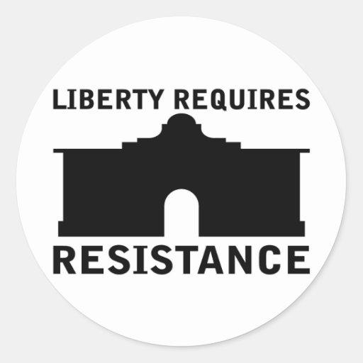 La libertad requiere resistencia etiquetas redondas