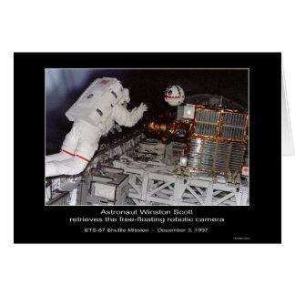 La libre-flotación de Winston Scott del astronauta Tarjeta De Felicitación