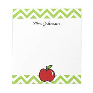 La libreta roja de la manzana para el profesor el  bloc de papel