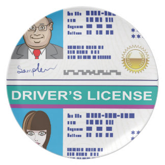La licencia de conductor platos para fiestas