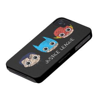 La liga de justicia de Chibi dirige bosquejo Case-Mate iPhone 4 Protectores
