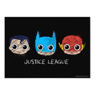 """La liga de justicia de Chibi dirige bosquejo Invitación 5"""" X 7"""""""