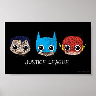 La liga de justicia de Chibi dirige bosquejo Póster