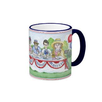 La liga de los votantes de las mujeres en el cuart taza de café