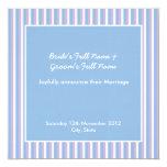La lila azul raya la invitación azul del boda