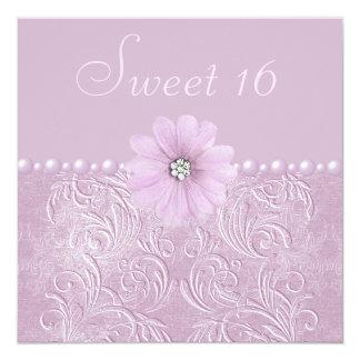 """La lila Bling del vintage florece y gotea el dulce Invitación 5.25"""" X 5.25"""""""