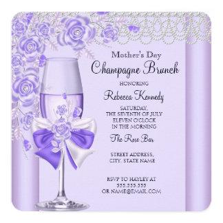 """La lila bonita del día de madre subió el brunch 2C Invitación 5.25"""" X 5.25"""""""