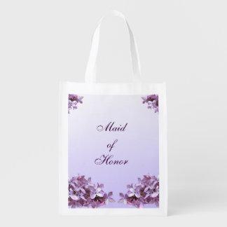 La lila floral florece a la criada del boda del bolsas reutilizables