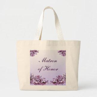 La lila floral florece a la matrona del boda del bolsa tela grande