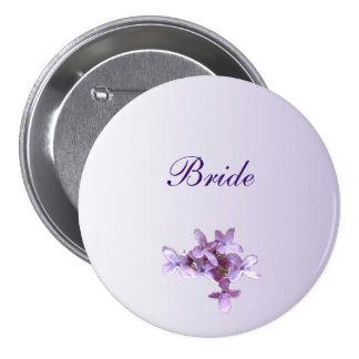 La lila floral florece casando el Pin nupcial Pin Redondo 7 Cm