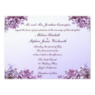 """La lila floral florece el boda invitación 5.5"""" x 7.5"""""""
