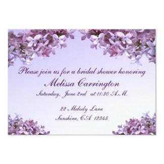 """La lila floral florece la ducha nupcial invitación 5"""" x 7"""""""