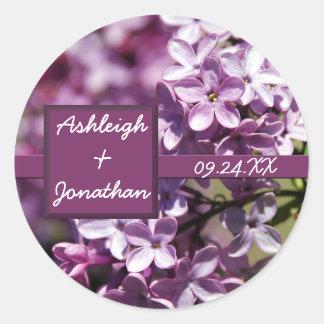 La lila florece etiquetas autoadhesivas del favor pegatina redonda