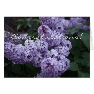 La lila florece la tarjeta de la enhorabuena