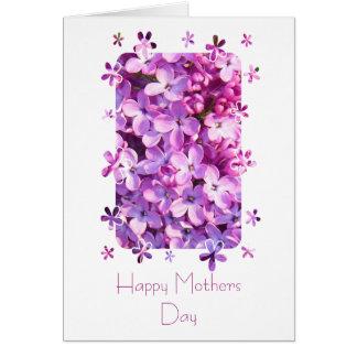 La lila florece la tarjeta del día de madres
