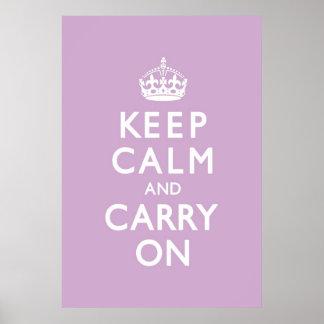 La lila guarda calma y continúa póster