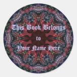 La lila Jewels Bookplate Etiqueta Redonda