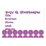 La lila púrpura bonita circunda los botones textur plantilla de tarjeta personal