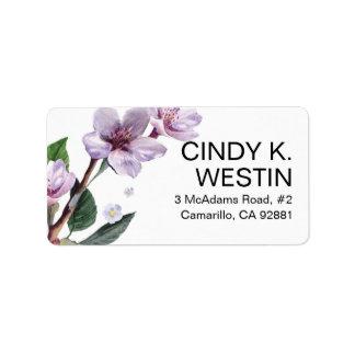 La lila ramifica las flores de la acuarela etiqueta de dirección