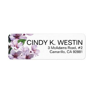 La lila ramifica las flores de la acuarela etiquetas de remite