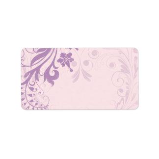 La lila se ruboriza etiqueta de dirección en blanc