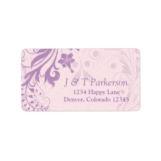 La lila se ruboriza etiqueta de dirección floral r