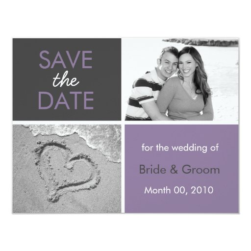 """La lila y el gris ahorran las tarjetas de la foto invitación 4.25"""" x 5.5"""""""