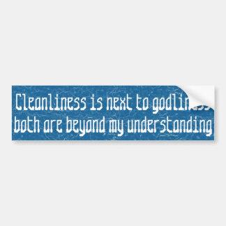 La limpieza está al lado de godliness… pegatina para auto