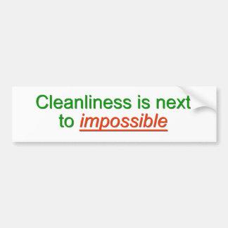 La limpieza está al lado de imposible pegatina para auto