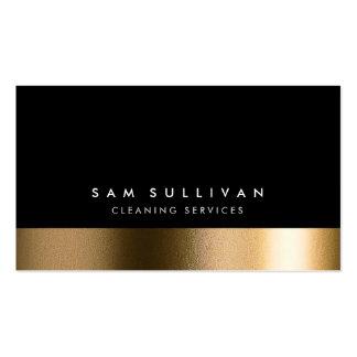 La limpieza mantiene el oro elegante negro tarjetas de visita