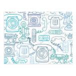 La línea arte llama por teléfono al modelo tarjeta postal