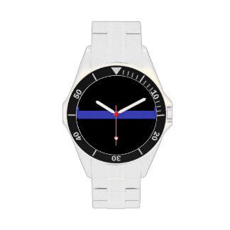 La línea azul fina reloj del oficial