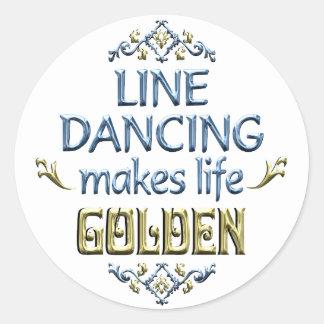 La línea baile es de oro etiqueta redonda
