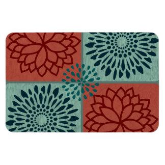 La línea color de la flor de azul rojo del arte bl imán