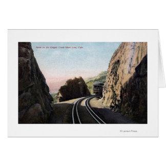 La línea corta coche de ferrocarril tarjeta de felicitación