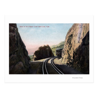 La línea corta coche de ferrocarril tarjeta postal