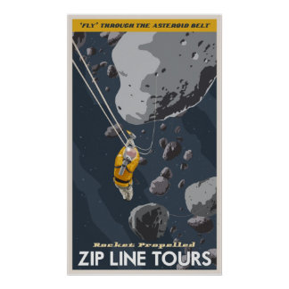 La línea de la cremallera viaja a través de la cor póster