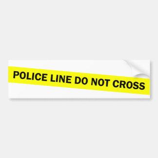 la línea de policía no cruza etiqueta de parachoque