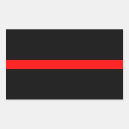 La línea roja fina del bombero pegatina rectangular