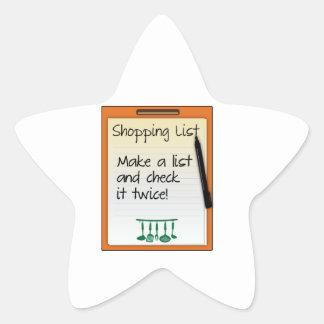 ¡La lista de compras hace una lista y la comprueba Calcomanía Forma De Estrella