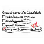 La lista de control de los abuelos tarjeta postal