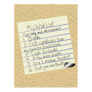La lista de objetivos del Booklover Tarjeta Postal